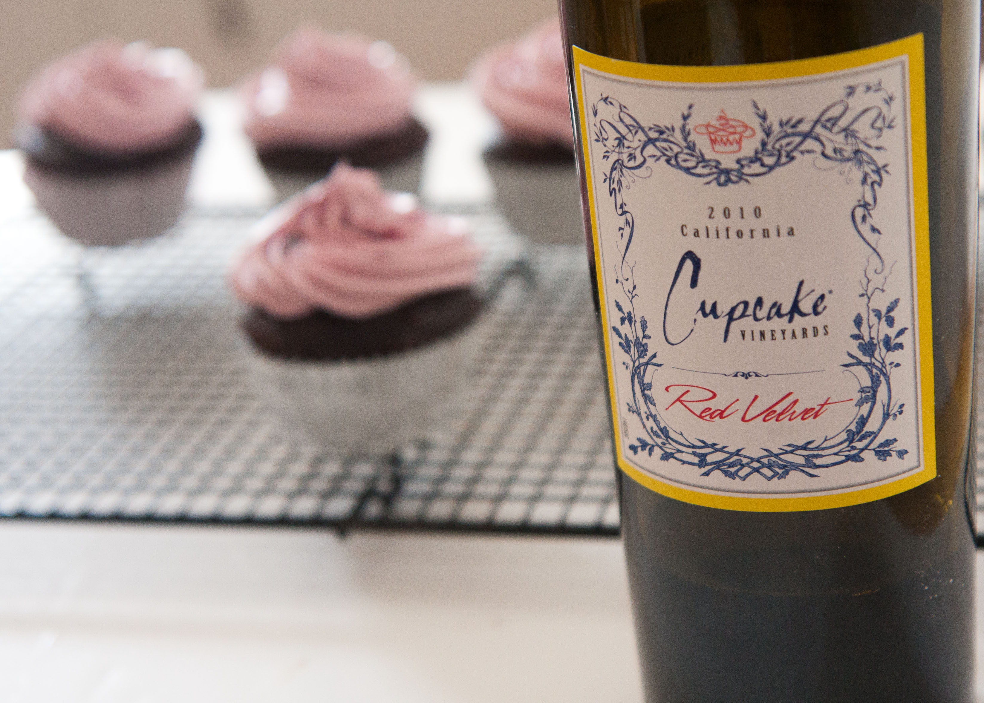 These Cupcakes combine the love of chocolate & wine.