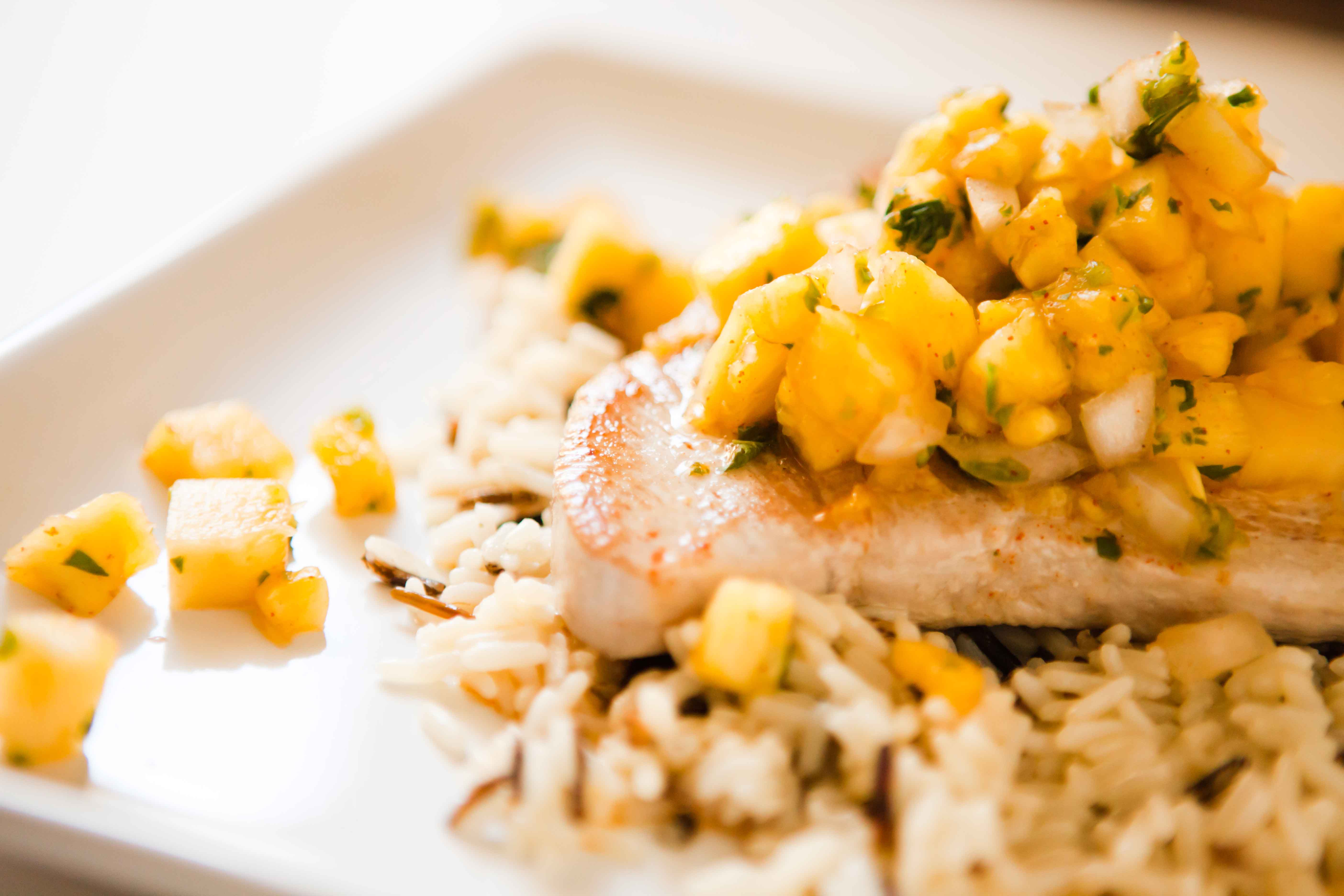 Pineapple Salsa with Grilled Tuna |