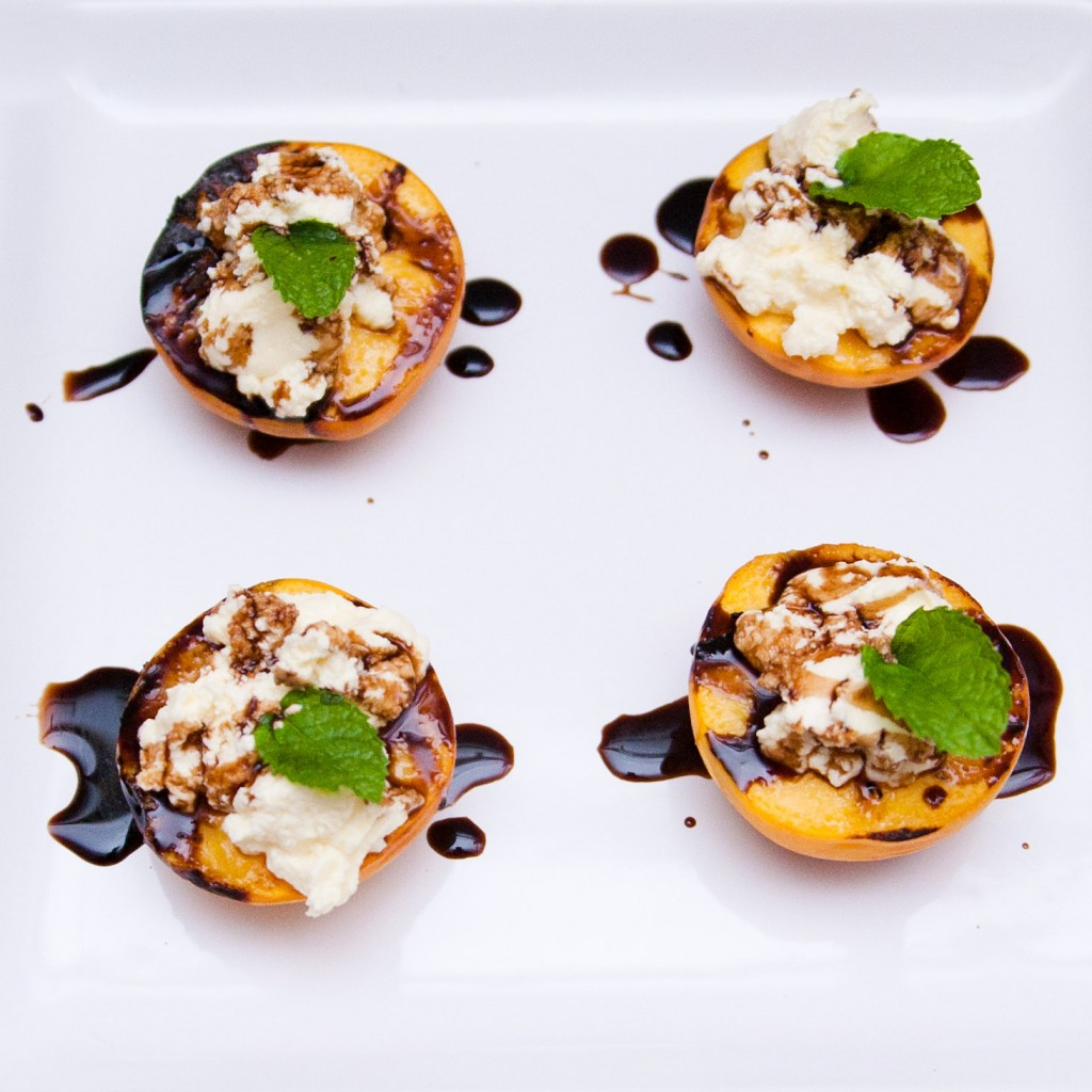 grilled peaches with balsamic & ricotta