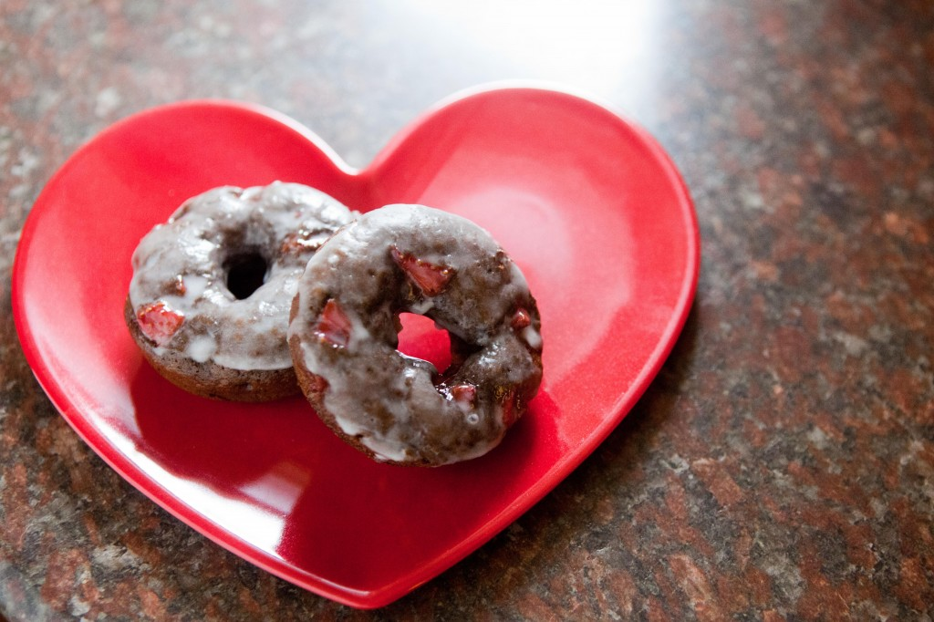 Valentines Day Chocolate Covered Strawberry Donuts