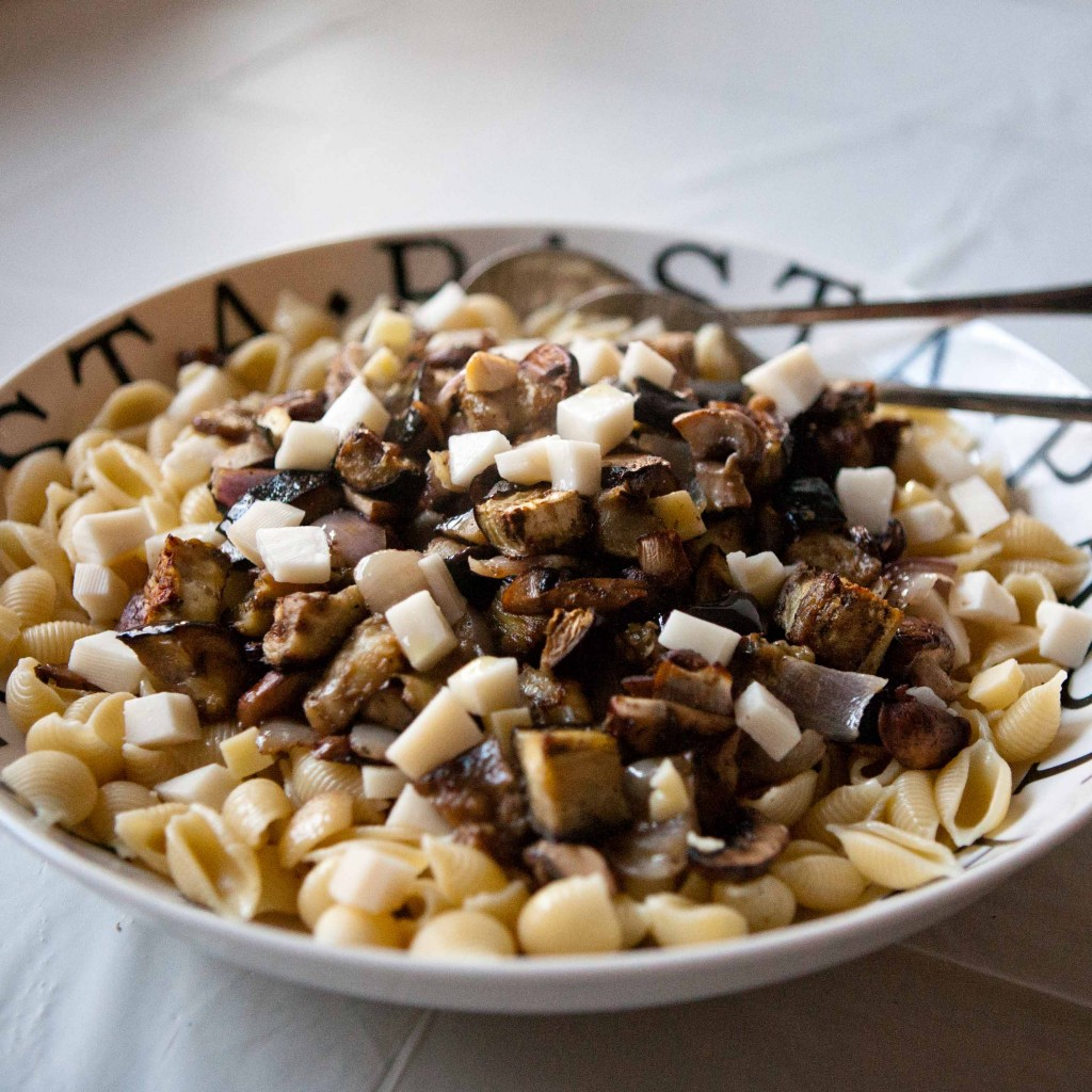 roasted eggplant & mushroom oveer pasta with cheese