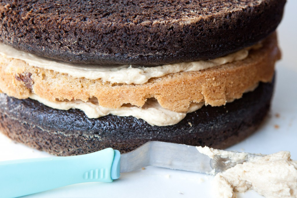 Chocolate + Chocolate Chip Cookie Cake Layers with Offset Frosting