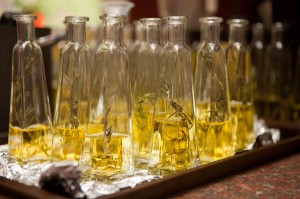 half-filled bottles of olive oil